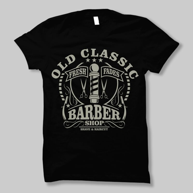old classic barber shop vintage <font><b>shave</b></font> shaver knife dtg mens t <font><b>shirt</b></font> tees image