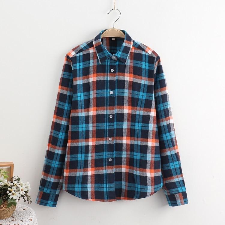 2018 Fashion Plaid Shirt Female College Style Women's Blouses Long Sleeve Flannel Shirt Plus Size Casual Blouses Shirts M-5XL 7
