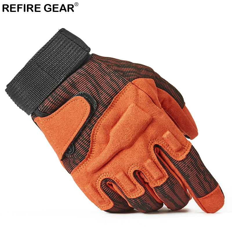 ReFire Gear Outdoor Cycling Full Finger Hiking Gloves Men Paintball Airsoft Tactical Combat Glove Male Special Force Army Glove