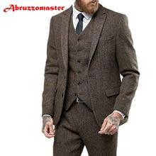 Abruzzomaster твидовый костюм коричневый Елочка Шерсть Мужские костюмы в елочку Свадебные смокинги в елочку куртка+ брюки+ жилет