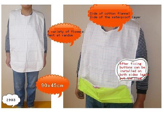 Free Shipping  FUUBUU2903 Elderly Adult Bibs Waterproof Bibs Bib Aprons Eat Meals Pocket 90x45CM