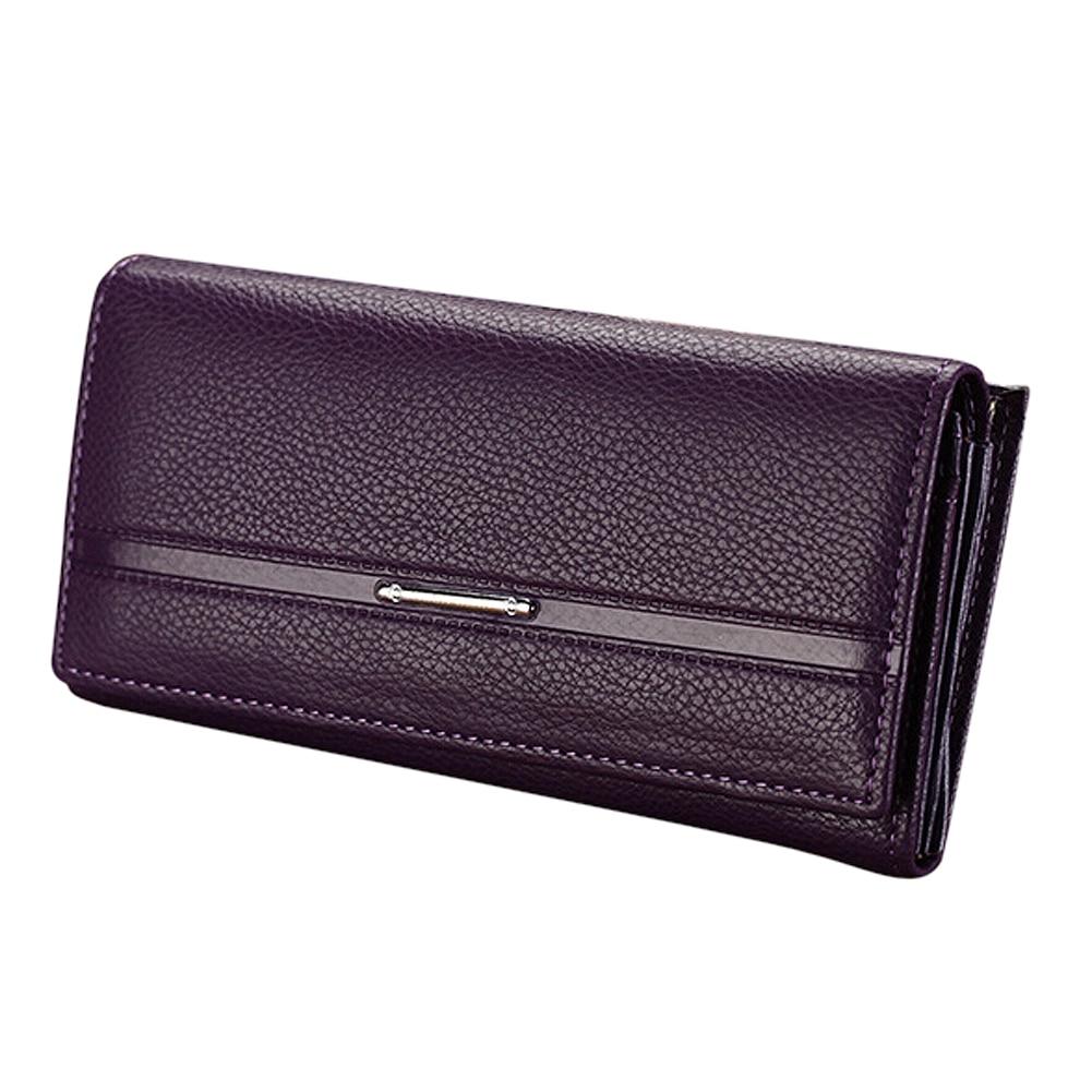 Wallet Women's Wallet Clutch Long Design Clip Wallet Long Wallets Coin Purse Bag purple fuzzy metal clutch wallet