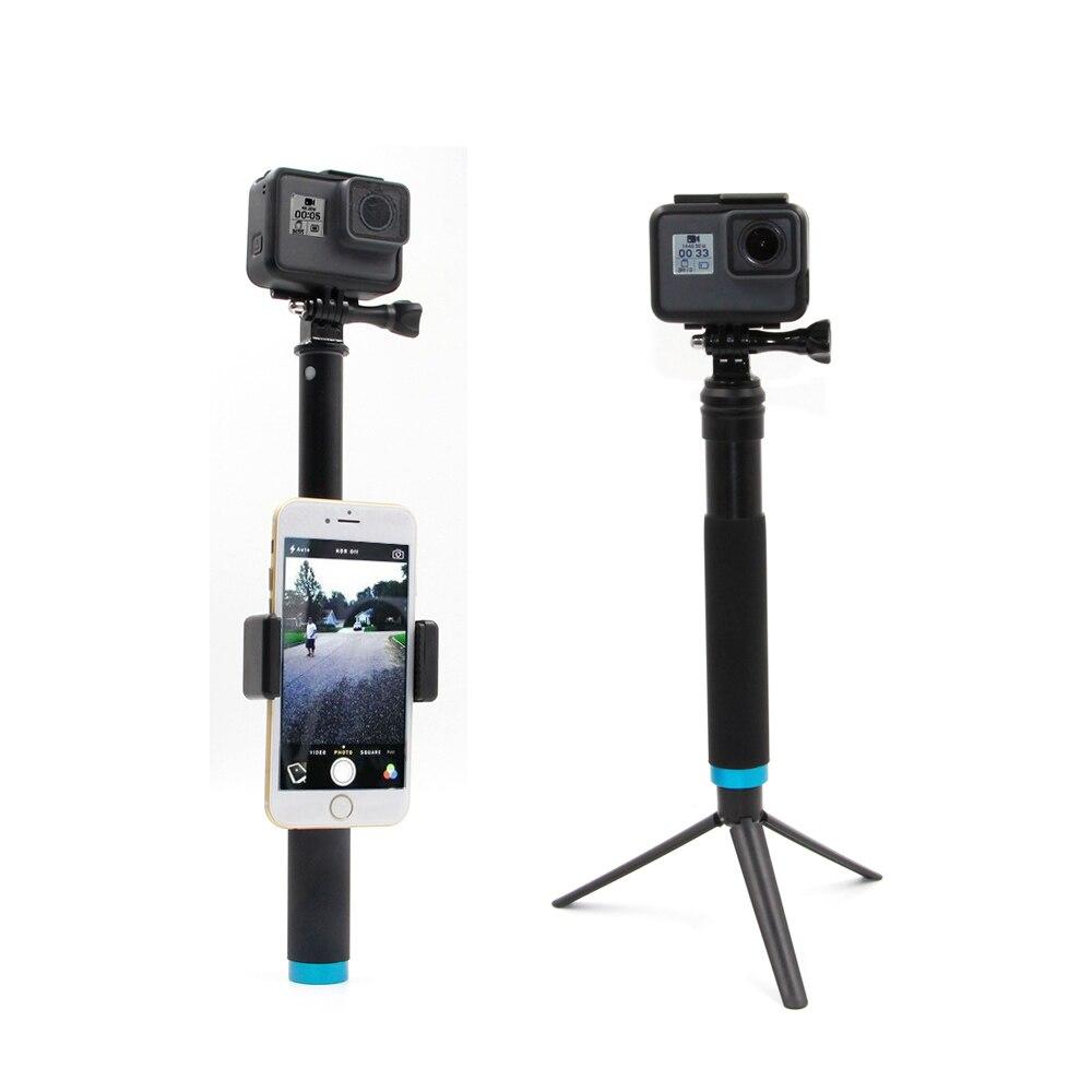 TELESIN Extensible Alliage D'aluminium Selfie Bâton + Amovible Trépied Mont Téléphone Titulaire pour GoPro SJCAM Xiaomi Yi Caméras D'action