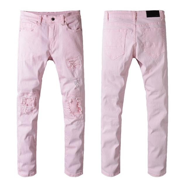 dc41fdb2b9a New Italy Style  545  Mens Distressed Destroy Ripped Patches Pants Stretch  Skinny Pink Jeans Slim Trousers Size 28-42