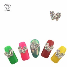 LEAMX 10pcs Glitter Butterfly Rhinestones 3d Nail Art Decorations, Alloy Nail Sticker Charms Jewelry for Nail Gel/Polish Tools 10pc glitter colorful flower 3d nail art decorations with rhinestones alloy nail charms jewelry for nail gel polish tools tn975