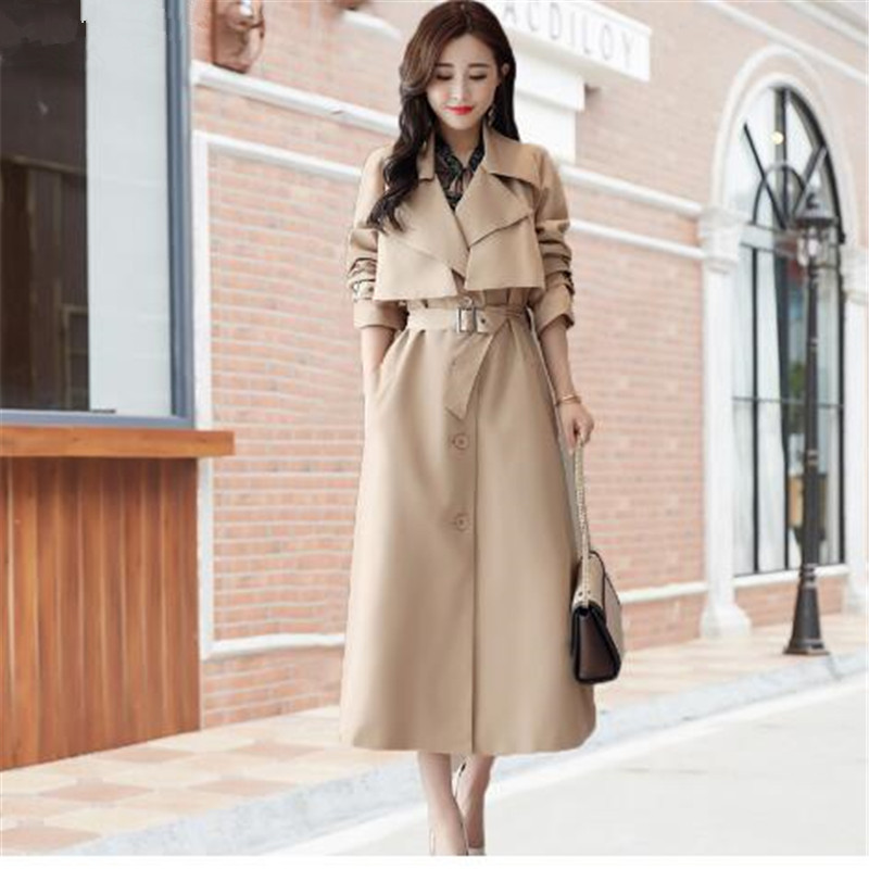 wreeima 2018 new autumn Elegant women's khaki   Trench   Coat Single Breasted Casual Outerwear loose clothes   trench   coat for women