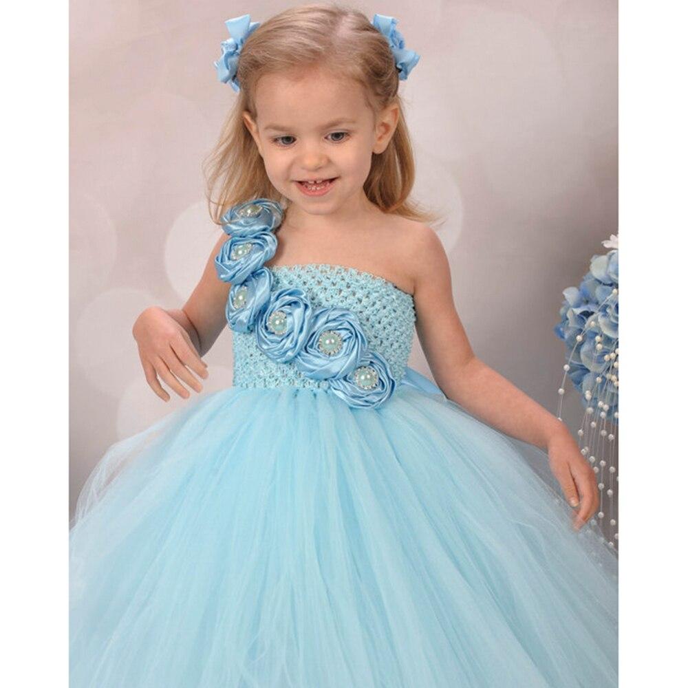 Neue Design Nette Blaue Blume Mädchen Kleider für Hochzeit Rose ...