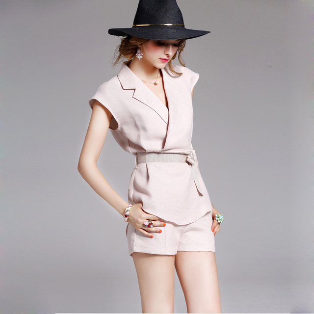 95% Linen Suits Women Pink Two Piece Turn-down Collar Sashes Vest Pokets Shorts High Quality Ladies Fashion 2017 Newest