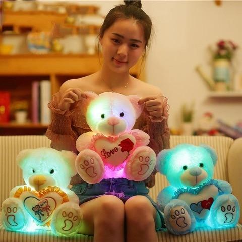 diodo emissor de luz urso de peluche bonito abraco de urso ouvir brinquedos luminosa de