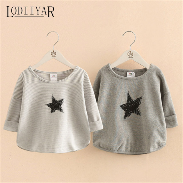 Boys Girls Striped Shirt Japan Style Printed Star Boy Girl Tops And Tees Leisure Holiday Gray T-Shirts Children Clothing