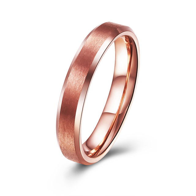 4mm Rose Gold Color Stainless Steel Wedding Band For Boy And Friendship Ring Russian Men