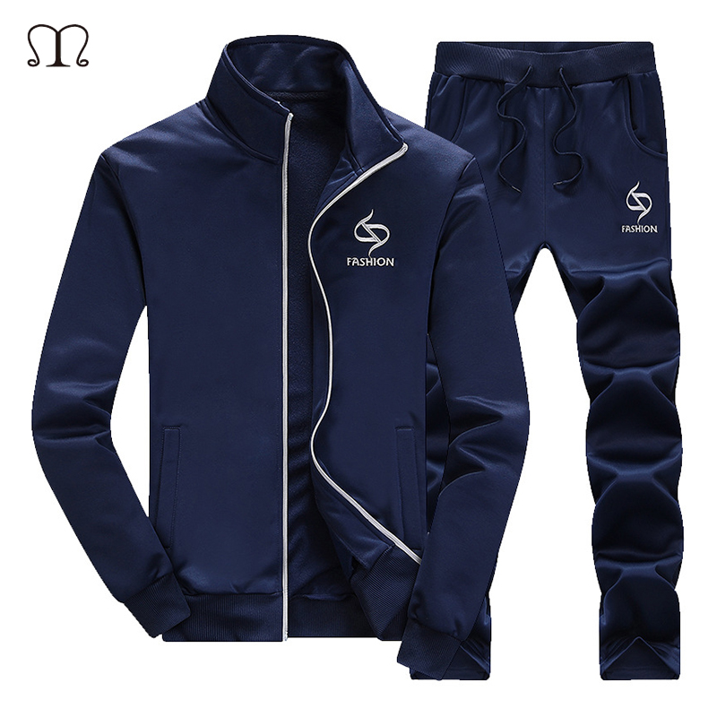 Men Tracksuit 2 Pieces Set Sweatshirt+Sweatpants New Fashion Autumn Sporting Zipper Suit Mens Clothing Slim Fit Sportswear Sets