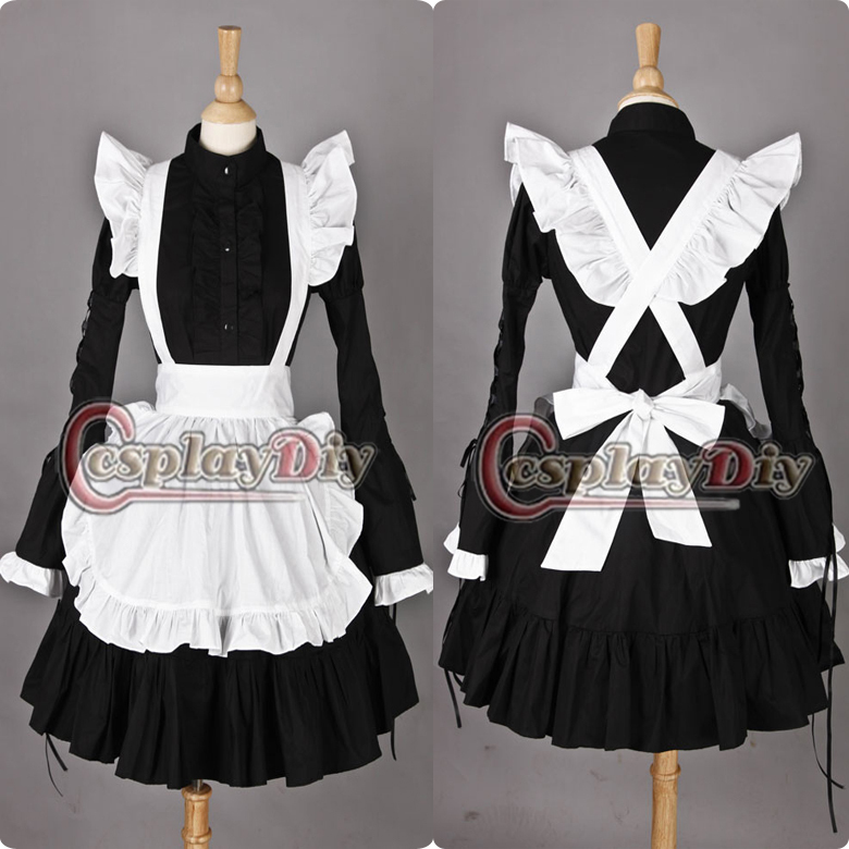 Free Shipping Custom-made Lovely Black & White Cosplay Dress Full Sleeves Lolita Maid Costume