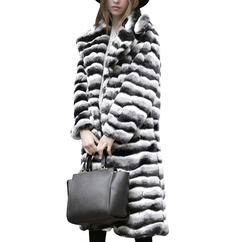 Manteau D'hiver Revers Turn De Stripe Collar Zebra down Fourrure Femmes Poilu Pardessus 7q1187 Long Chaud Blanc Épaissir Noir Slim dqtOdg