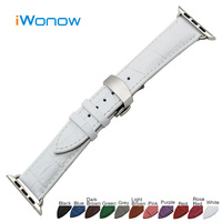 Croco Genuine Leather Watchband For 38mm 42mm IWatch Apple Watch Butterfly Buckle Band Strap Wrist Belt