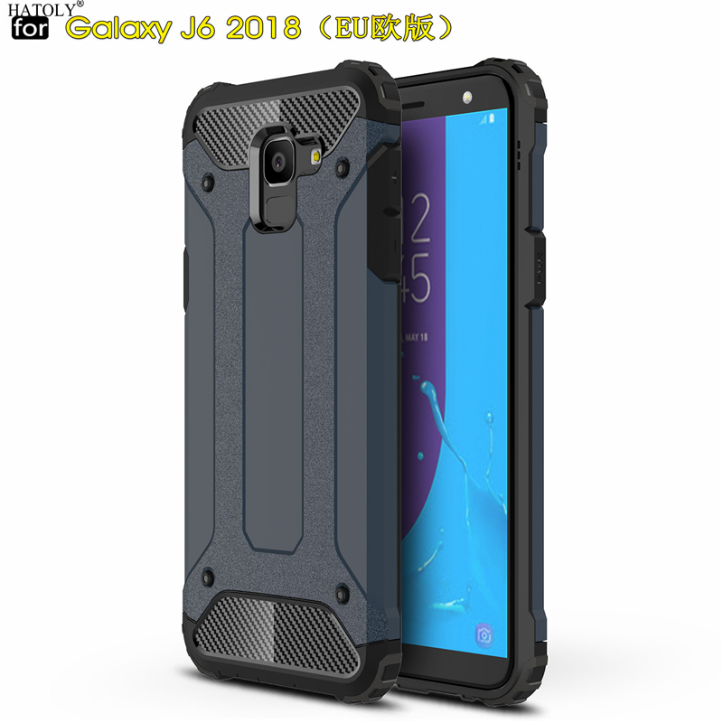 HATOLY sFor Coque Samsung Galaxy J6 2018 Case Heavy Armor Slim Hard Rubber Cover Silicone Phone Case for Samsung J6 2018 J600g
