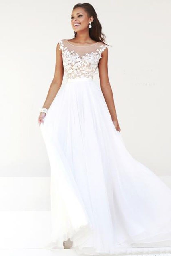 Aliexpress.com : Buy 2014 Beautiful Evening gown Cap Sleeves White ...