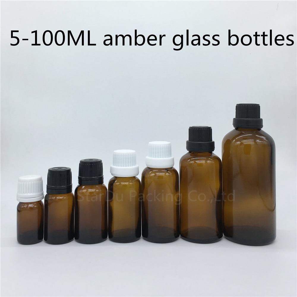 5ml 10ml 15ml 20ml 30ML 50ml 100ml amber Glass Bottle Vials Essential Oil Bottle with tamper