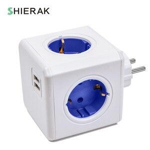 Image 1 - SHIERAK الذكية المنزل الطاقة مكعب المقبس الاتحاد الأوروبي التوصيل 4 منافذ تحولت 2 منافذ USB محول الطاقة قطاع تمديد محول متعددة مآخذ