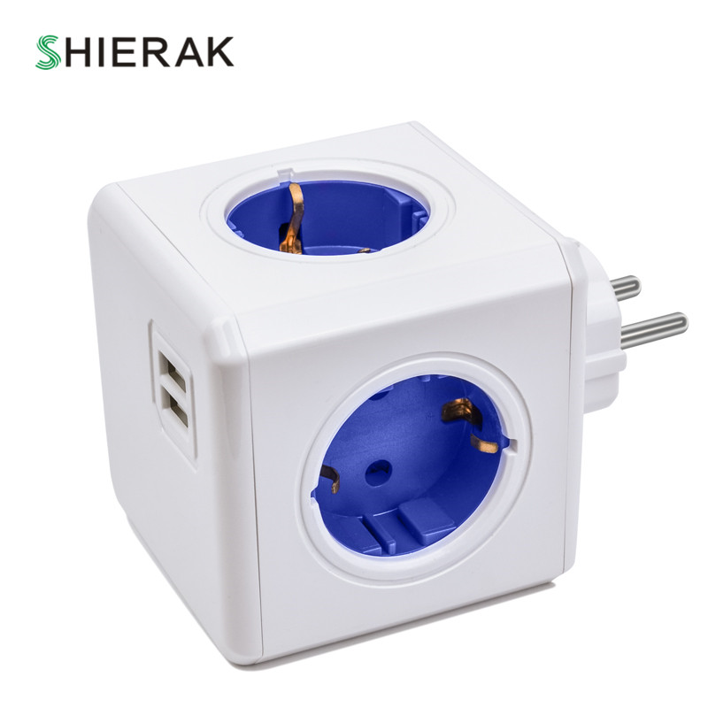 SHIERAK Smart Home cubo enchufe UE Plug 4 enchufes 2 puertos USB adaptador extensión de tira de alimentación Multi Switched tomas