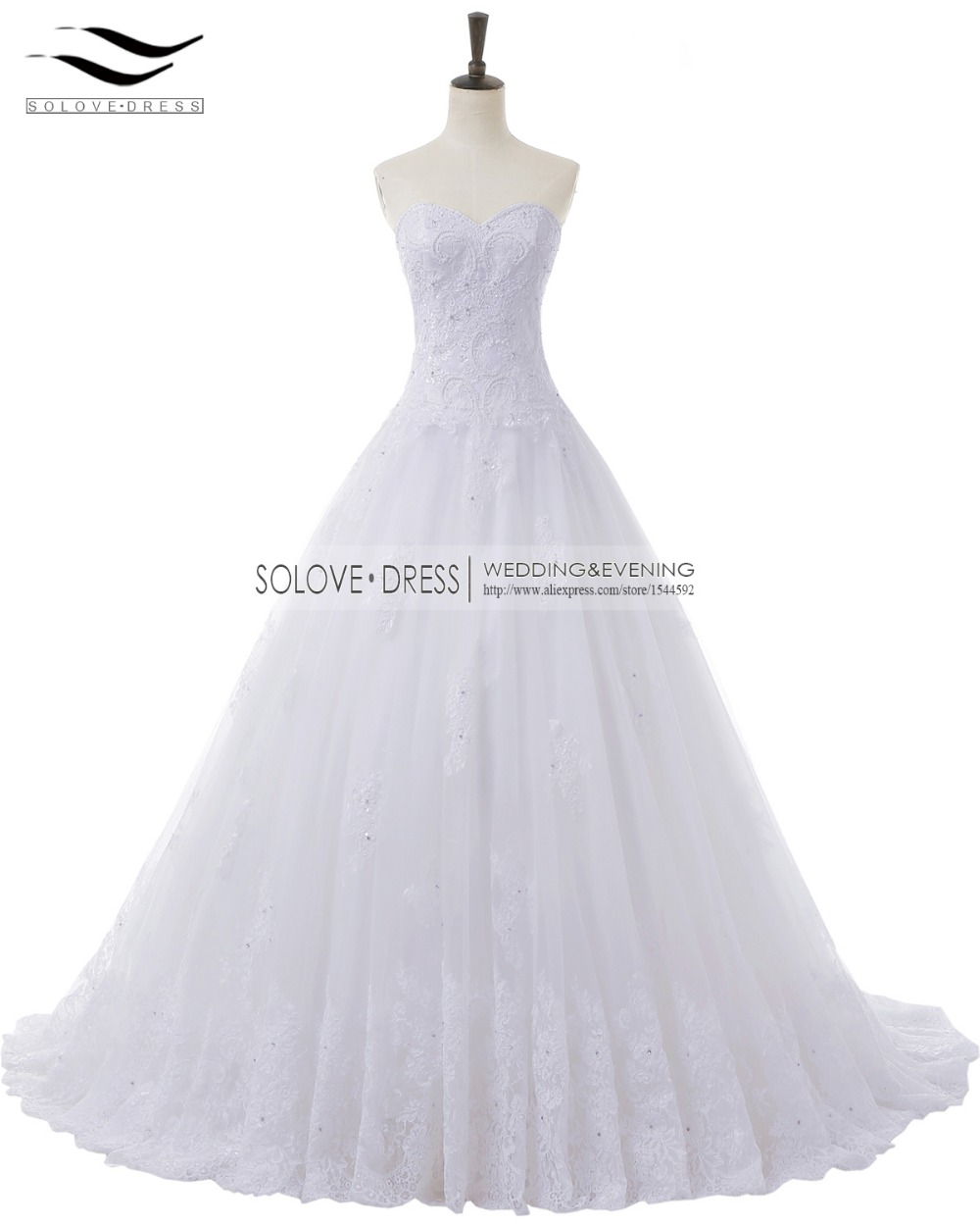 Casamento Noiva Sweetheart Beads Appilques Wedding Gowns A Line Tulle Lace Wedding Dresses 2018 Lace vestido de novia SLW-W99