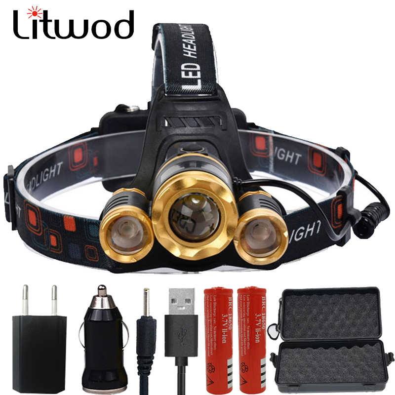Litwod z10 led Headlight 12000 Lumen chips T6 / 2*Q5 headlamp LED Lamp Flashlight head torch Headlamp battery For Camping light