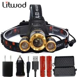 Litwod z10 led <font><b>Headlight</b></font> 12000 Lumen chips T6 / 2*Q5 headlamp LED Lamp Flashlight head torch Headlamp battery For Camping light