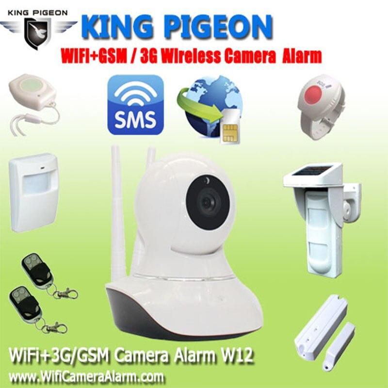 2016 King Pigeon W12 WiFi GSM 3G Camera Home Burglar Alarm System HD 720P WiFi IP Camera With SMS Alarm Wireless PIR Pet Sensor home security camera system gsm 3g ip camera wireless sms camera with gsm alarm system siren strobe pir motion control w12d