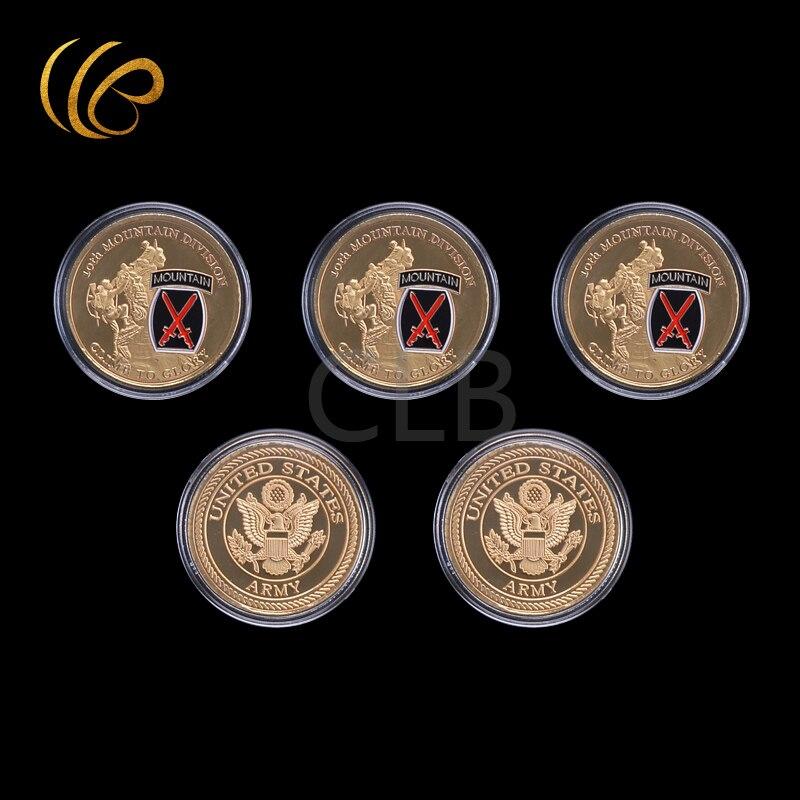 ขายส่ง10thภูเขากองเหรียญทองclimeเพื่อglory u. sเหรียญทหารกับกรณีพลาสติกสำหรับตกแต่งบ้านและของขวัญ