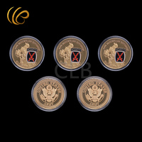 Wholesale 10th Mountain Division Gold Coin Clime To Glory U.S Military Coins with Plastic Case for Home Decor and Gifts