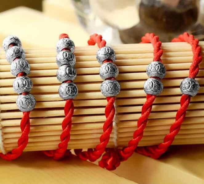 Omhxzj Groothandel Mode Aanwezig Hoge Kwaliteit Rood Touw Geluk Kraal Prachtige 925 Sterling Silver Gift Vrouwen Armbanden Armbanden SZ46