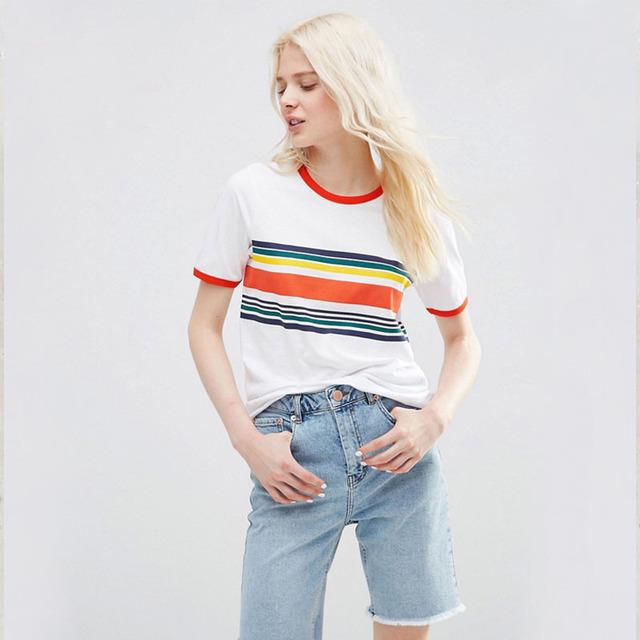 Na Venda Verão Tops O Neck Manga Curta Rainbow Stripe Imprimir Cor do Contraste ocasional T Camisa de Todos Os Jogo Macio Plus Size T camisa