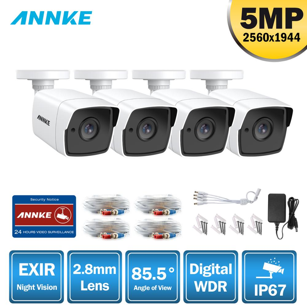 ANNKE 4X Ultra HD 5MP TVI CCTV Camera Outdoor Weatherproof White Security Surveillance System EXIR Night Vision Email Alert Kit