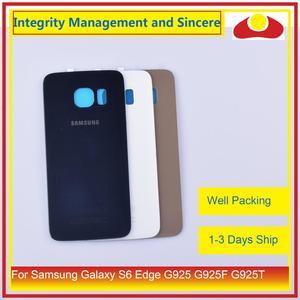 Image 2 - 50 Pcs/lot pour Samsung Galaxy S6 Edge G925 G925F G925T boîtier batterie porte arrière couvercle en verre châssis coque de remplacement