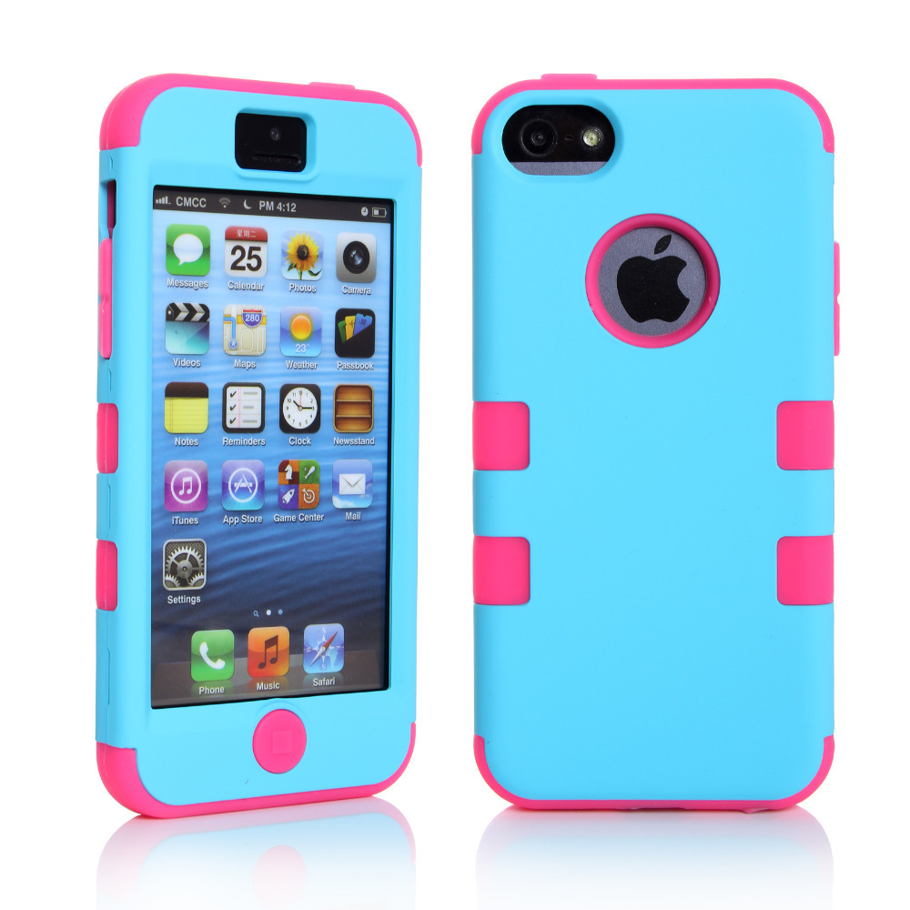 meet 9049c 3f342 Nice Colorful Silicone Varnish 3 in 1 Hard Case Cover For iPhone 5/5S/5C/SE  Case Screen Protective Film Stylus Pen Free Shipping-in Fitted Cases from  ...