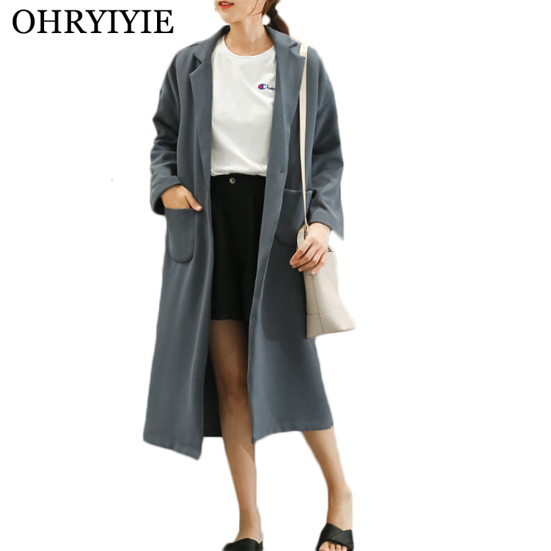 OHRYIYIE Blue Single Button   Trench   Coat Women 2019 New Fashion Long Style Outwear Female Loose   Trench   Coat For Women Overcoats