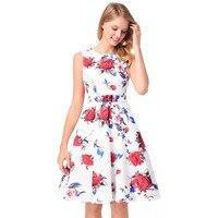 Rose Printing O Neck Summer Dress Women S Robe Retro Swing Party Dress Casual Sleeveless Vestidos