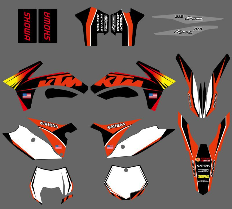 0071 Sunshine Orange NEW TEAM  GRAPHICS WITH MATCHING BACKGROUNDS FIT FOR  SX SXF 125/150/200/250/350 /450/500 2011-2012  0322 star new team graphics with matching backgrounds fit for ktm sx sxf 125 150 200 250 350 450 500 2011 2012