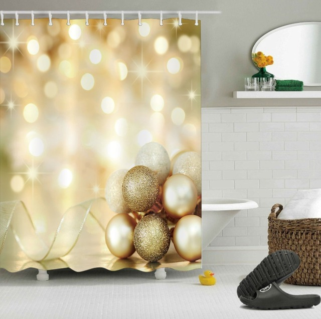 LB Gold Merry Christmas Shower Curtains Light Glitter Ball Ribbon Luxury Bathroom Curtain Fabric Polyester For Bathtub Decor