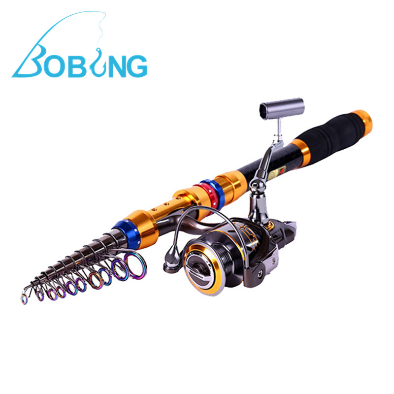 New Arrival Bobing Carbon Telescopic Fishing Rod and Spinning Reel Combos Travel Fishing Pole Set Freshwater Pesca Tackle Tools стоимость
