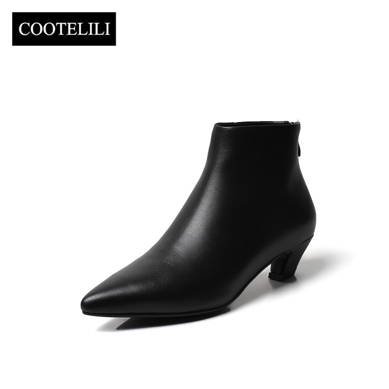 95ed563e31 COOTELILI Ankle Boots Women Heels Casual Shoes Woman Soft Leather Black  Boots For Female Motorcycle Botas Mujer Pointed Toe