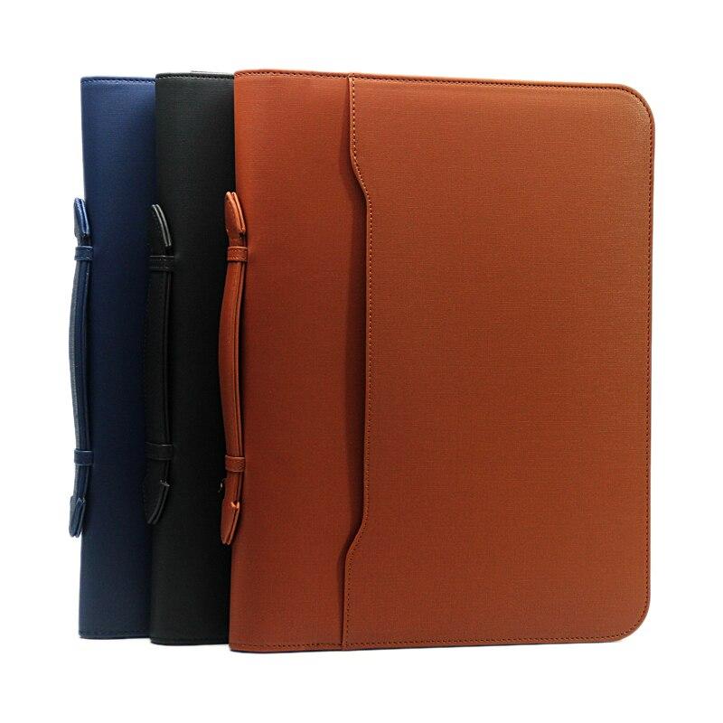 Kreatywny PU skóra zamek biuro biznes folder plików a4 torba menedżera teczki portfolio z uchwytami z kalkulator 1198 w Teczki na dokumenty od Artykuły biurowe i szkolne na  Grupa 2