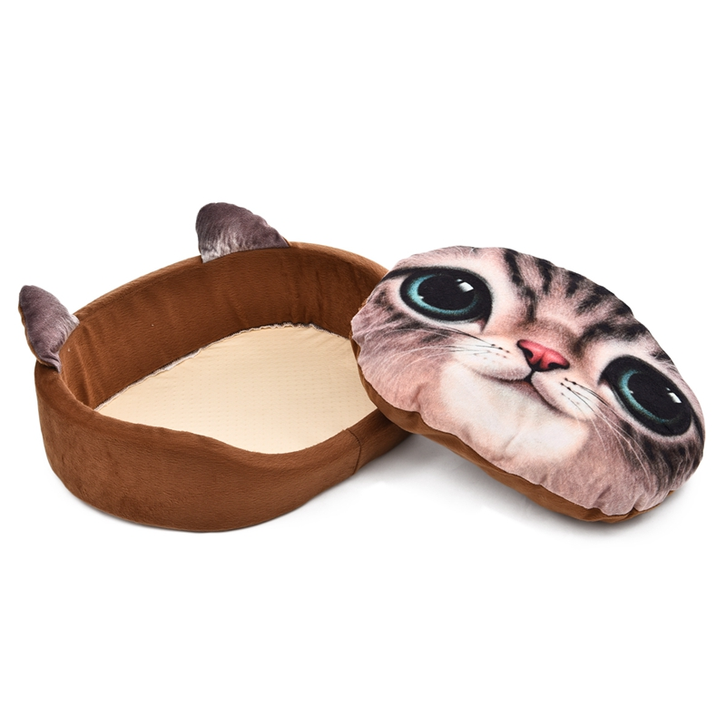 Cartoon Pet Bed Cat Face Dog Kattunge Sofa Avtagbar Kudde 3D Custom - Produkter för djur