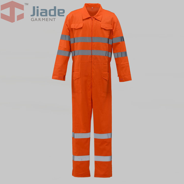 Jiade Adult High Visibility Coverall Long Sleeve CoverallMen's Work Reflective Coverall fluorescence yellow high visibility