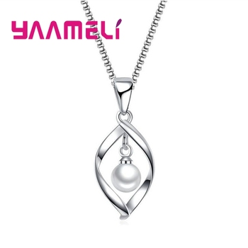 цена на Luxury Elegant Mystery Style Necklace 925 Sterling Silver Embellished White Faux Pearl Lovely For Girl Adult Gift