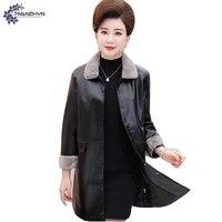 TNLNZHYN Women Clothing High End False Leather Coat Winter New Fashion Big Size Fur Collar Female