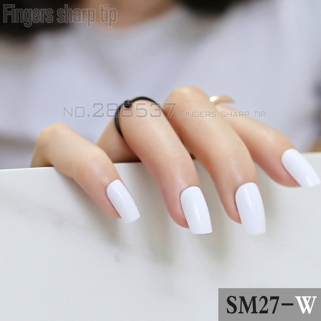 2017 New Por Ing White Square Head Candy Acrylic Art Decorative Nail 24pcs R27 W