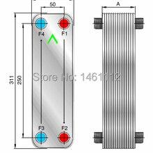 SUS304 нержавеющая сталь 50000 Btu 30 пластин Паяные пластинчатый теплообменник для системы кондиционера с R22