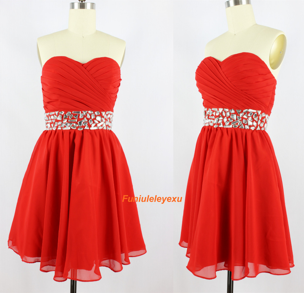 100% Real Image Sweetheart Sleeveless Chiffon Special Occasion Party Cocktail Dress Short Mini 2015 Homecoming Red Prom Dress