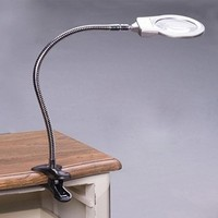 3x 5x Clip On Table Large Magnifying Glass Lamp Magnifer With LED Light For Reading Acrylic